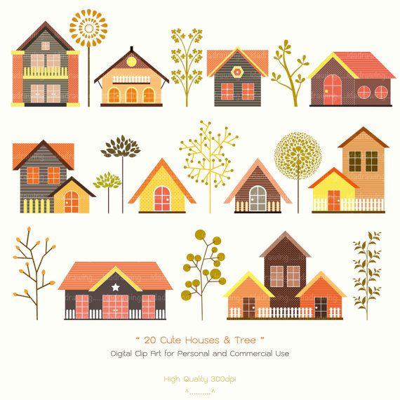 20 Cute Houses & Trees Digital Clip Art  Houses by idadrawing, $3.50