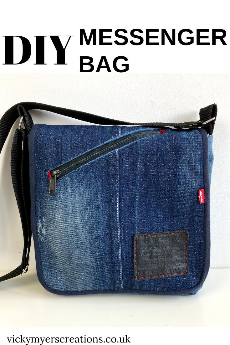 Easy DIY messenger bag - free denim bag pattern #bagpatterns