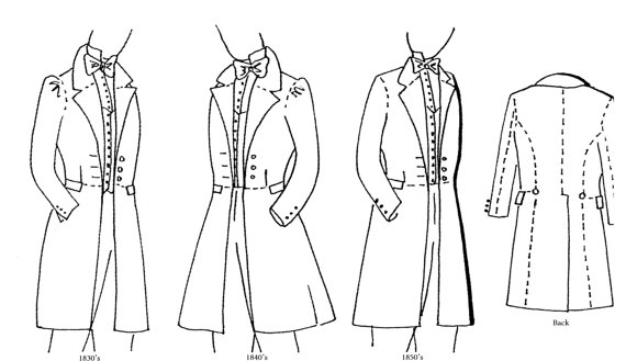 WN324 - 1830's, 1840's & 1850's Western/Victorian Era Frock Coat Sewing Pattern by Wingeo (chest 36""