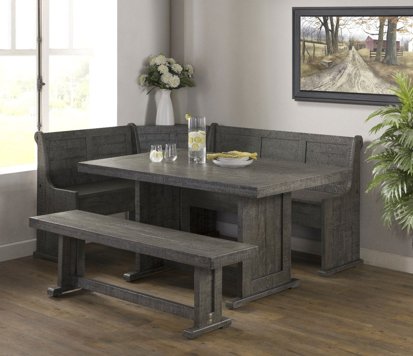 Vh 1890 5 Pc Gracie Oaks Merlinda Grey Distressed Finish Wood Solid Pine Breakfast Nook Table And Benches Corner Nook Dining Set Breakfast Nook Table Nook Dining Set