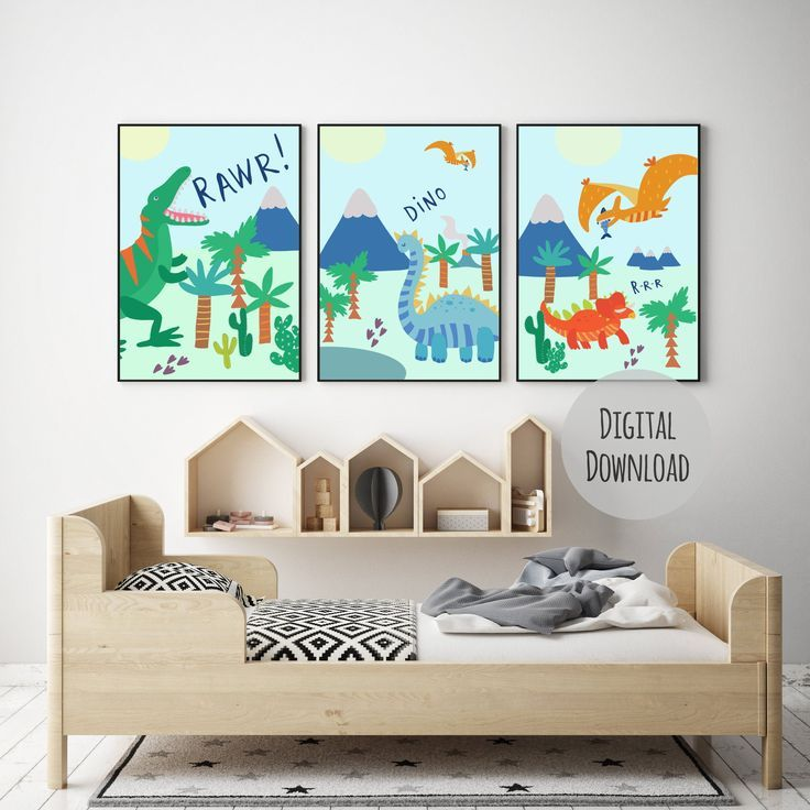 Dinosaur Art Print Set, Printable dinosaur decor, set of 3 extra large prints perfect for a nursery, bright & colourful print #dinosaurnursery