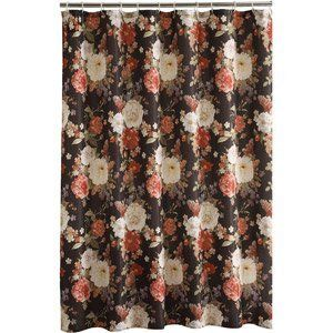 New Dramatic Cabbage Rose Floral Fabric Shower Curtain On Black Nip - Shower Curtains
