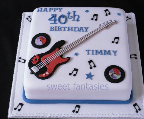 Square birthday cake with Sugar paste Bass Guitar Birthdays