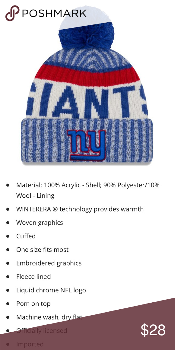 00ecb5d1609 New Era NFL NY Giants FLEECE LINED hat NY Giants New Era Sideline Official  Sport Knit hat See above slide for details and description New Era  Accessories ...
