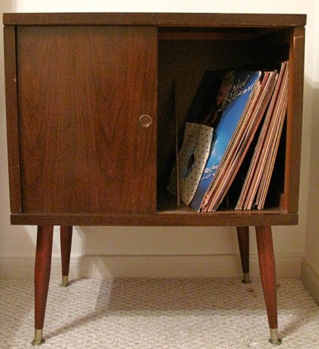 Furniture Legs Houston mid-century 1950's mahogany veneer record cabinet on torpedo legs