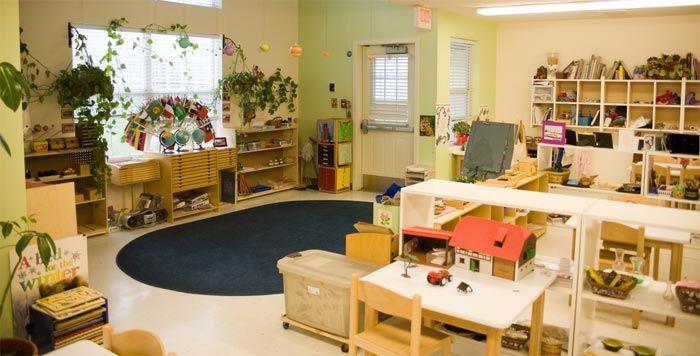Montessori Classroom Design Ideas ~ I really like the plants solid colored rug big