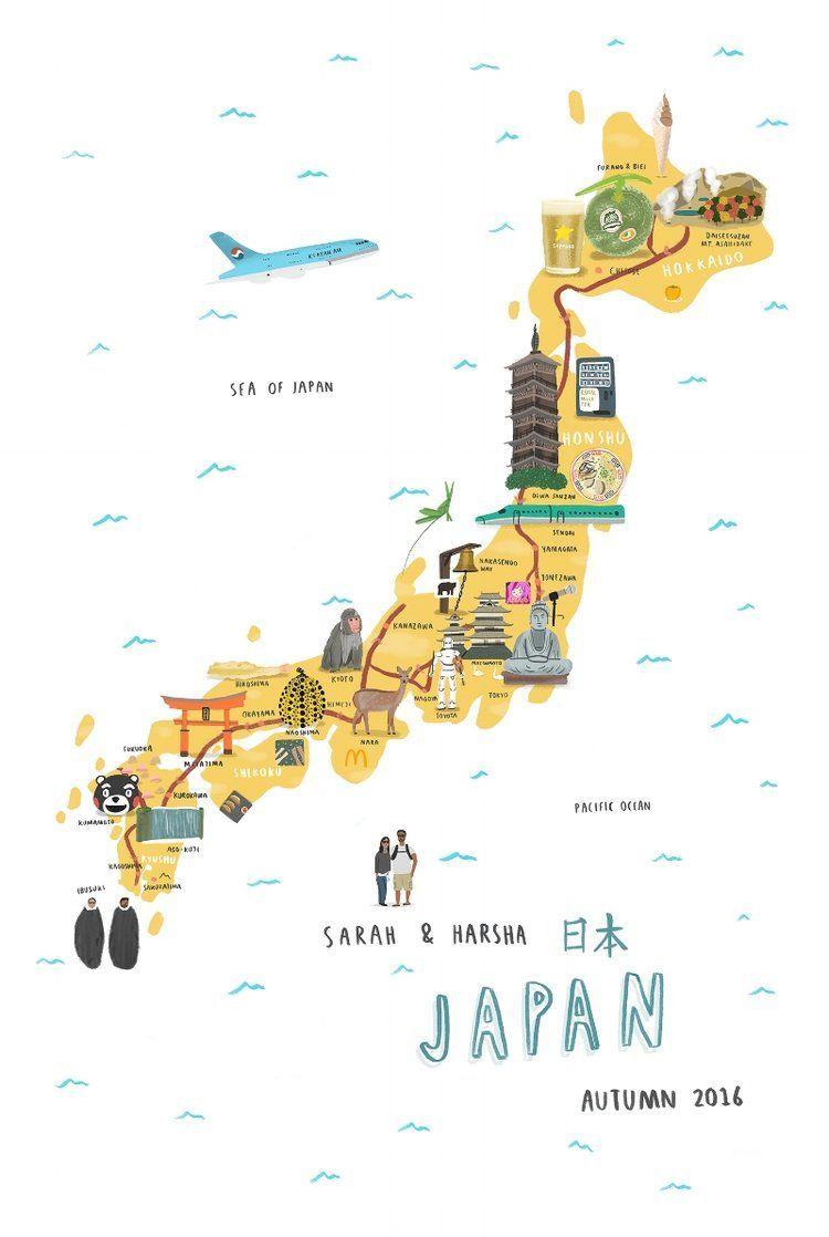 Japan Kidstravel Japan Map Illustrated Map Japan Illustration