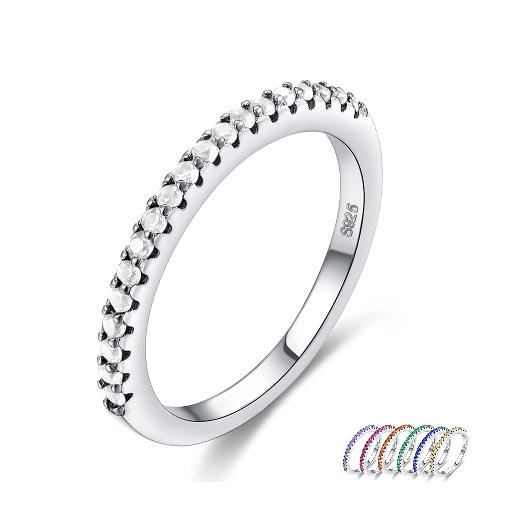 US $2.58 New Arrival 7 Color CZ Zircon Stone Silver Simple Rings ...