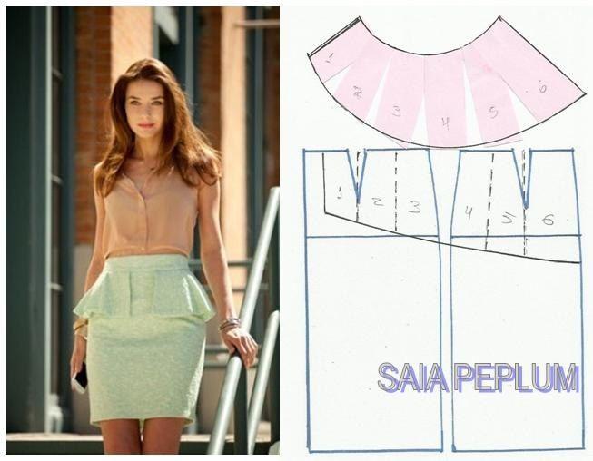 юбка с баской | moda mujer | Pinterest | Patrones, Molde y Costura