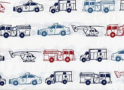 Rugged Bear Emergency Vehicle Sheet Set Twin Size Bedding