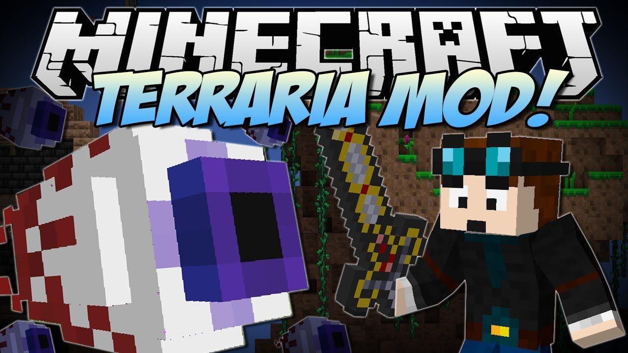 Minecraft Terraria Mod Eye Of Cthulhu Excaliber Obsidian Skulls Minecraft Mods Minecraft Dantdm