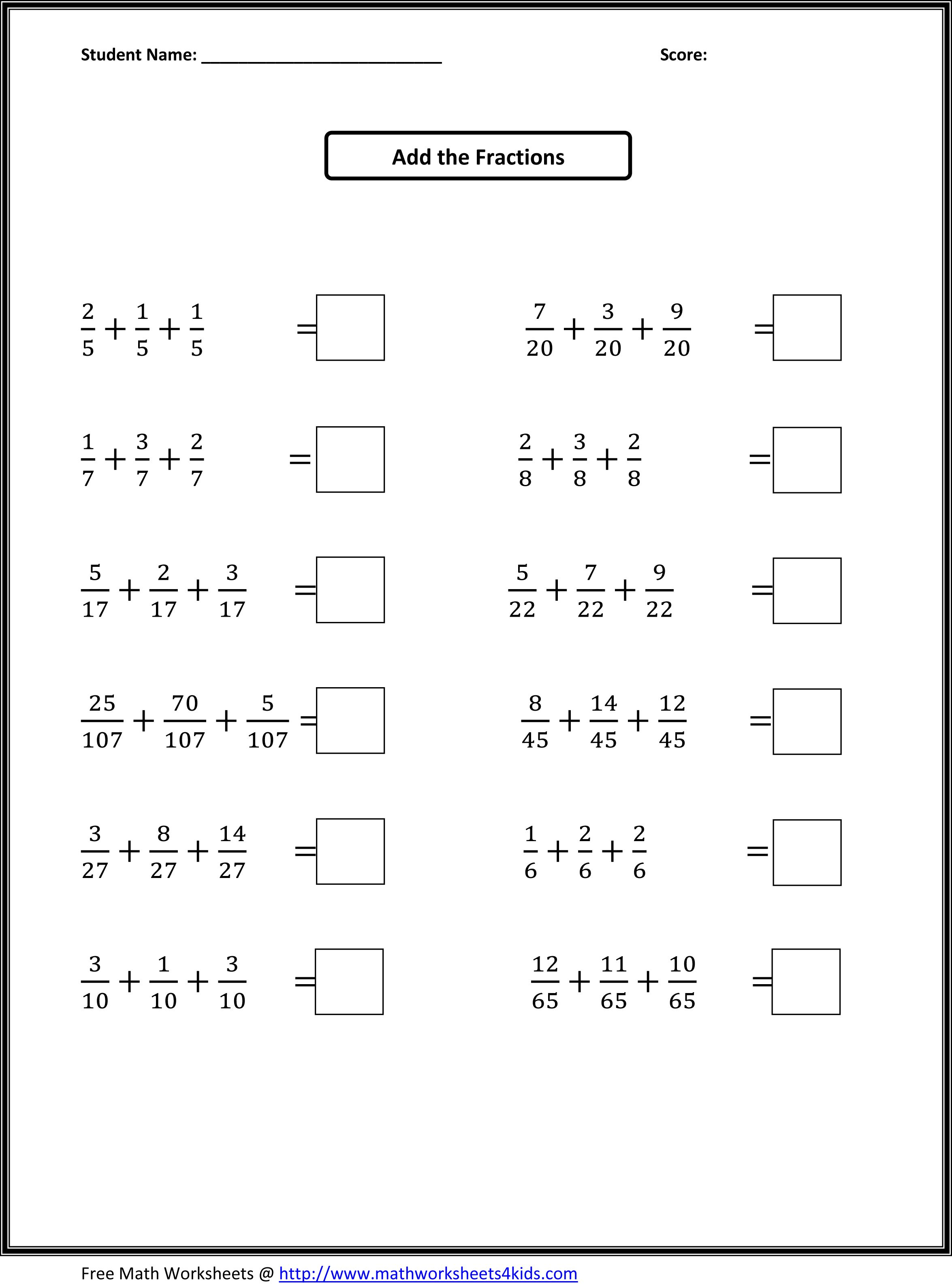 Worksheets for all early ed grades All topics of math – Addition Fractions Worksheet