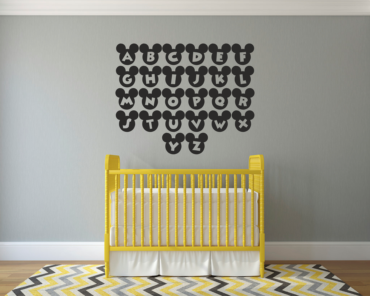 Mickey Mouse Alphabets Wall Art Decal Sticker | Logos | Pinterest ...