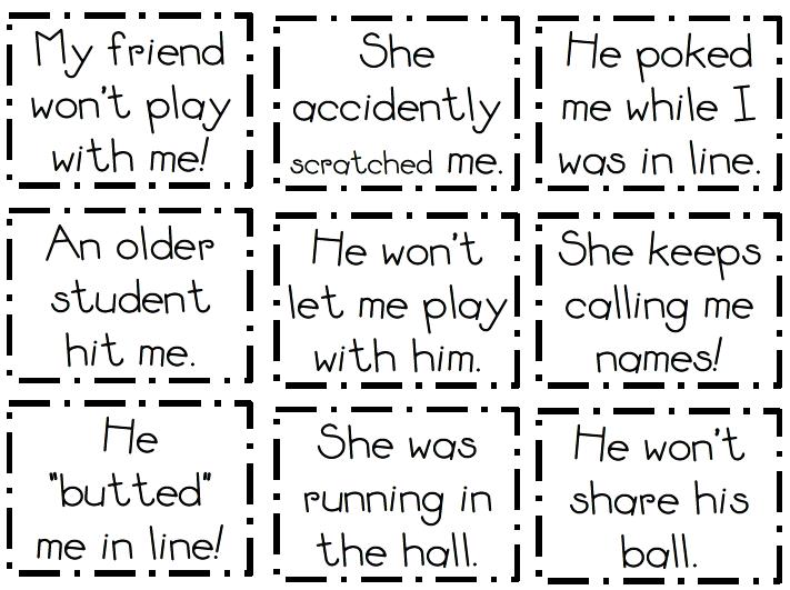 Tijdens mijn TEFL course ging het vaak over role play en role play cards, problem solving. Deze lijken mij erg toepasselijk voor in onze klassen! Verdeel in slachtoffer en dader en geef 1 vd probleem kaartjes om een gesprek op gang te krijgen.