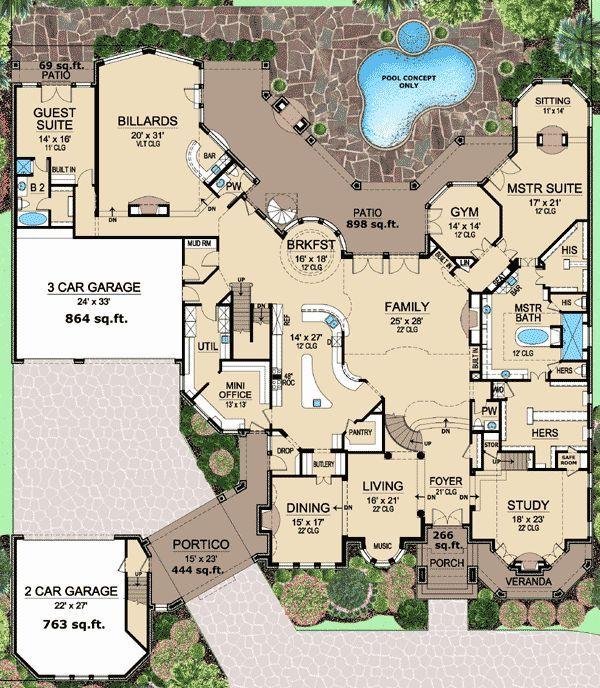 Plan 36353tx 2 story ceilings abound wine cellars for Wine cellar floor plans