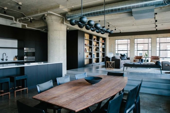 meuble industriel dco salon en style loft industriel avec murs et plafond en gris meubles de cuisine et salon en noir