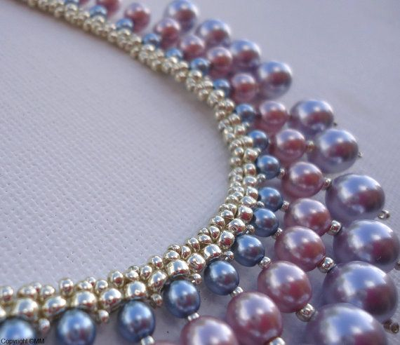 Multiple row pearl necklace and earrings pearl by kristinamari, beaded necklace, pearl necklace, multiple stitch beading