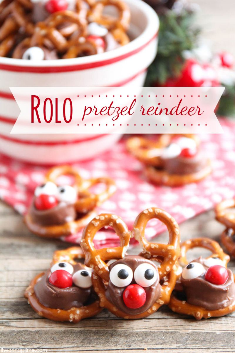 rolo pretzel reindeer these tasty reindeer treats are perfect for the holiday season and so easy your kids will love to help you make them - Easy Christmas Desserts Pinterest