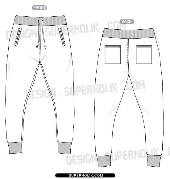 jogger pants template flat