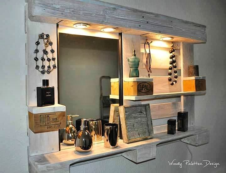 Your Next Pallet Bathroom Project Upcycled Mirror Shelves Woodenpallet
