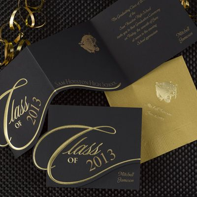 Black Gold Foil Embossed Announcement with Mascot