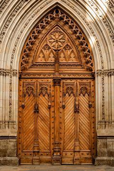 Beautifully carved wood doors Santiago Cathedral ~ Bilbao Biscay Spain & Beautifully carved wood doors Santiago Cathedral ~ Bilbao Biscay ...