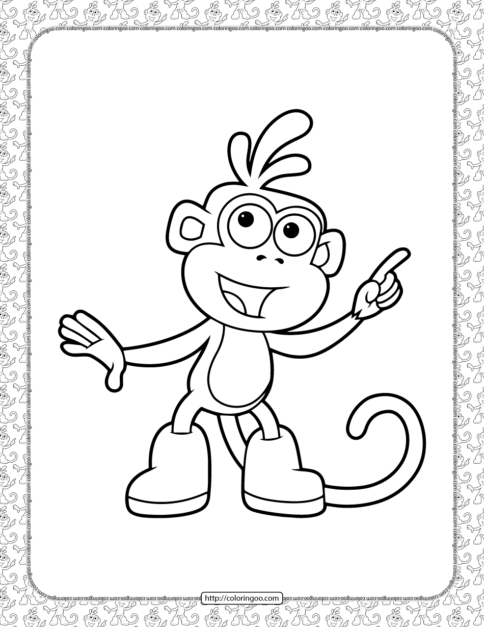 Boots Coloring Pages For Kids Dora Coloring Monkey Coloring Pages Coloring Pages