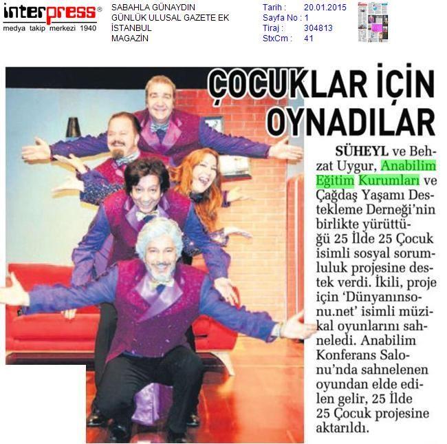 Çocuklar için oynadılar (Sabah Gazetesi) 20 Ocak 2015