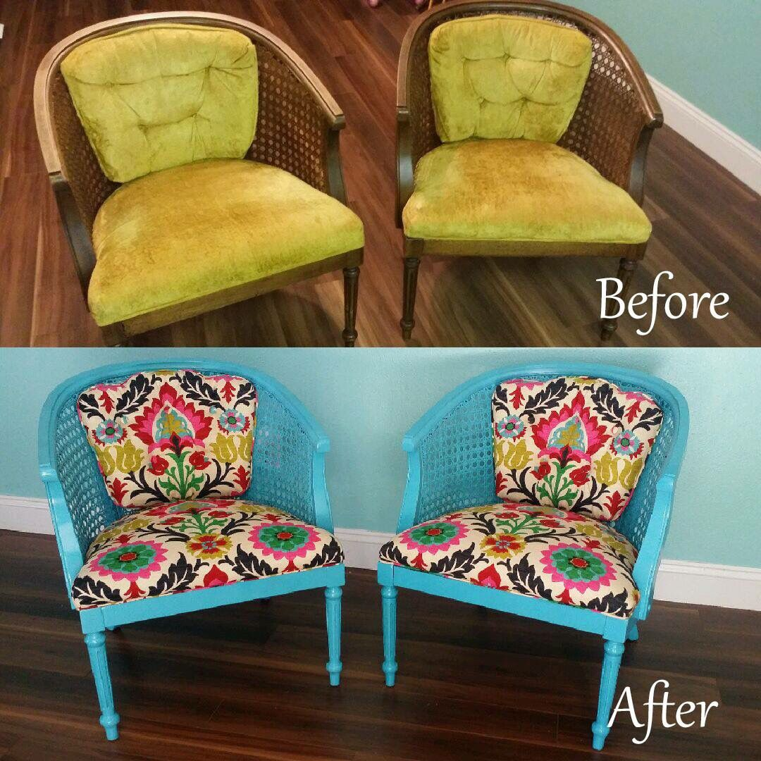 Santa Maria Desert Flower fabric and cane barrel chairs