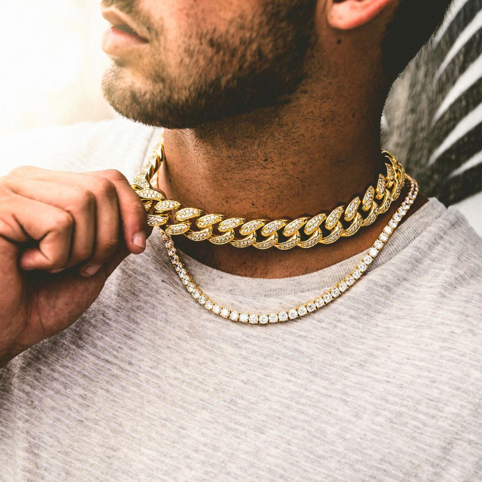 5mm Tennis Chain 19mm Cuban Choker Bundle Goldchains Gold Chains For Men Mens Jewelry Necklace Chains For Men