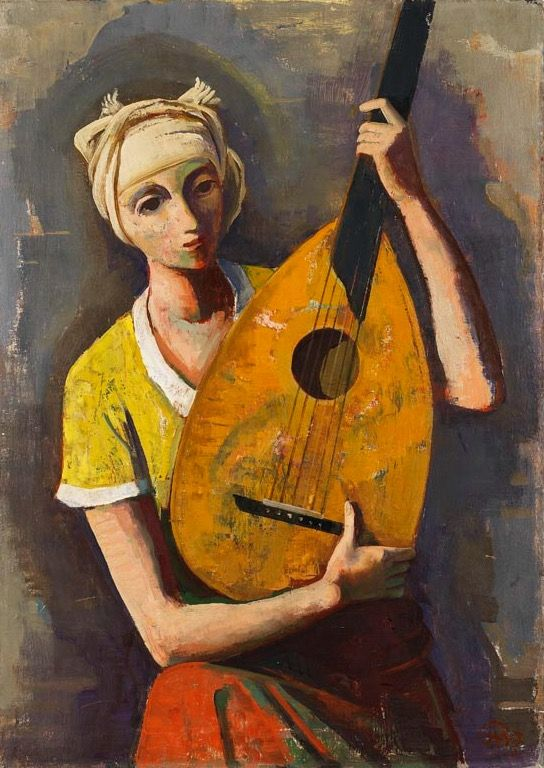 Karl Hofer (German, 1878 - 1955) - Girl with lute, 1937