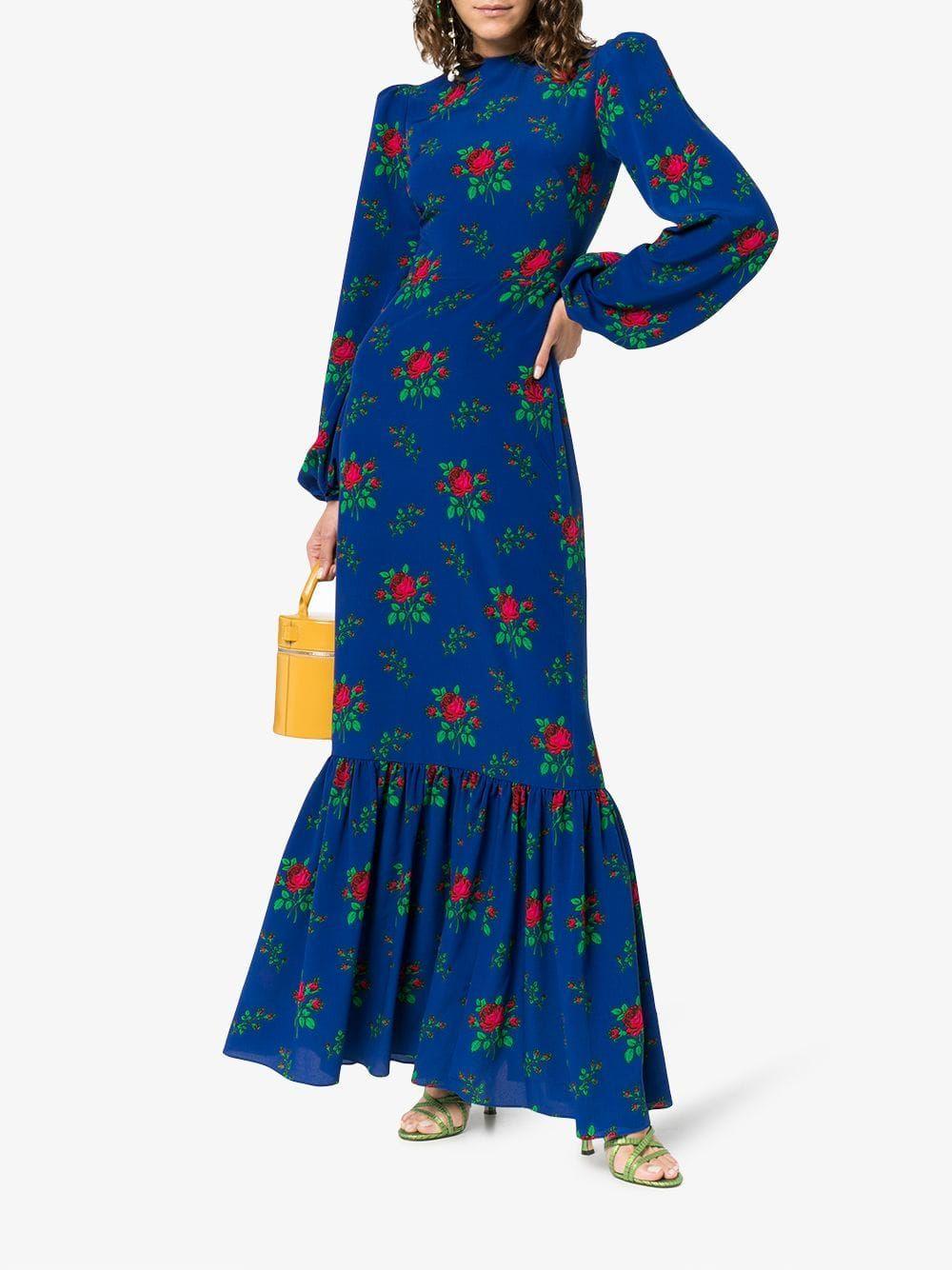 Belle padded shoulder floral print maxi dress flat dreams in