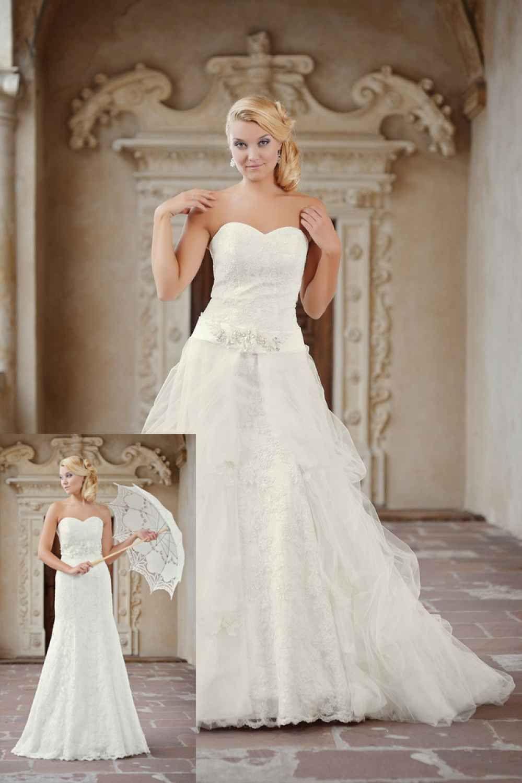 Schmales Brautkleid mit abnehmbarer Schleppe - Kleiderfreuden
