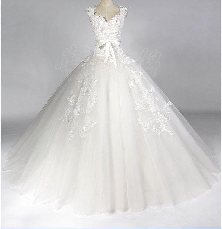Ball Gown Wedding Dresses : Ball Gown Sweetheart Chapel Train satin/Organza Wedding Dress. $229.00 via Etsy