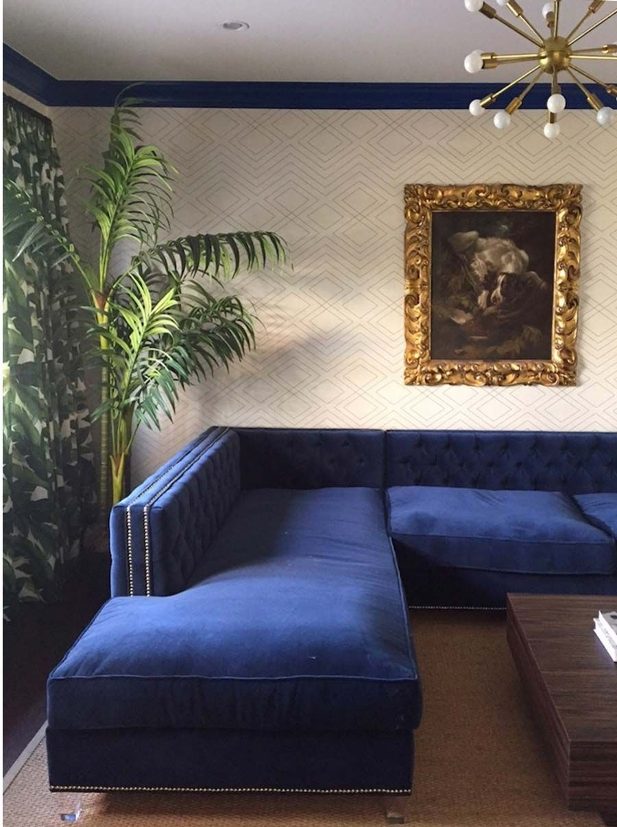 Aux Abris Grasscloth Wallcoverings And Murals Design Studio Blue Sectional Living Room Sofa Design Home Room Design #navy #blue #sectional #living #room