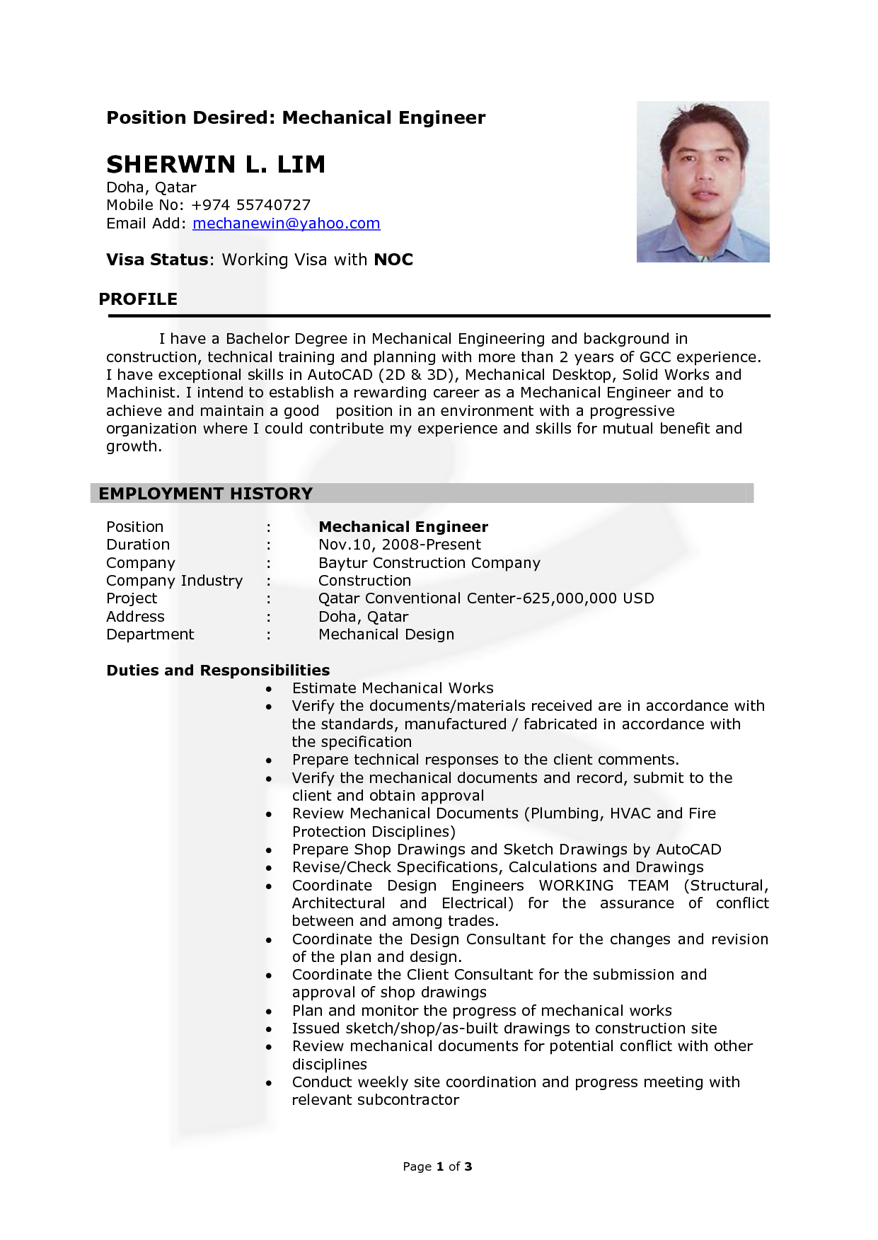 Mechanical Engineering Resume Resume Mechanical Engineering  Httpwwwresumecareer