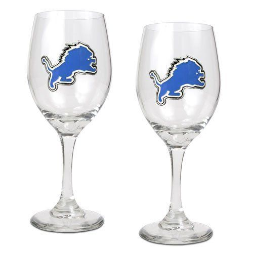 NFL Detroit Lions 14-Ounce Wine Glass (Set of Two) by Great American Products. $28.99. High quality collectible design. Handcrafted  high-quality metal logo. Each glass has a sophisticated styling that works great with whites, reds or a mimosa.. This gift set contains 2 wine glasses decorated with high-quality metal logos.