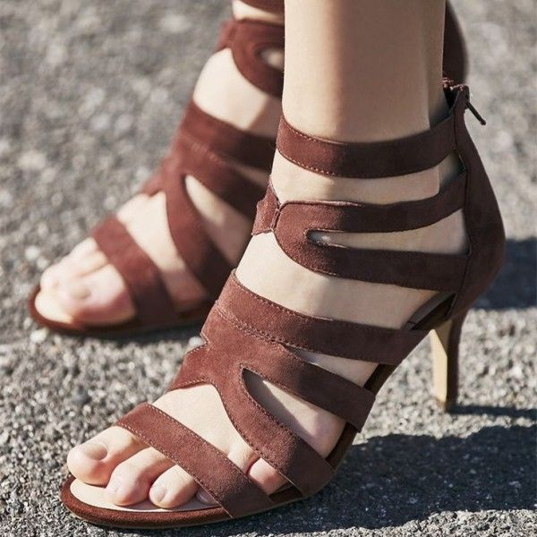 8051b27c312 Tan Heels Open Toe Ankle Strap Stiletto Heels Sandals for Women for Party
