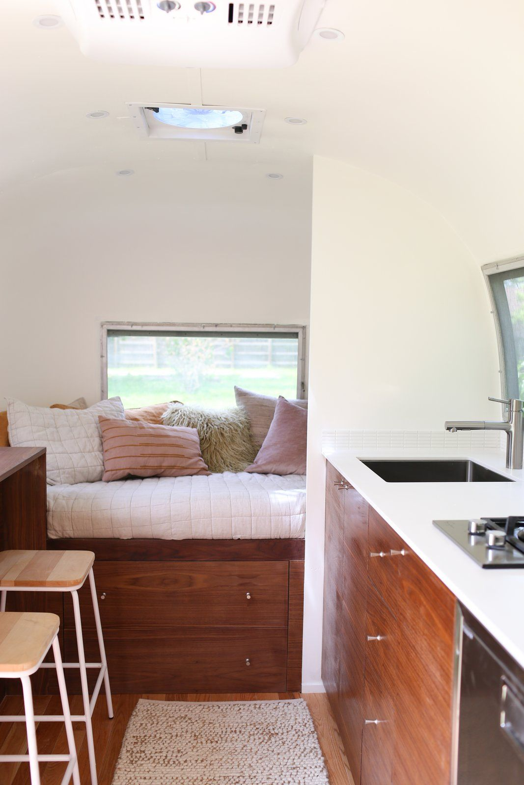 Hope Airstream Renovation By The Modern Caravan In 2020 Airstream Renovation Solid Surface Countertops Cabinetry Design