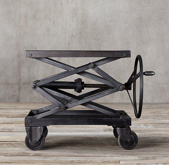 Industrial Scissor Lift Table restoration hardware