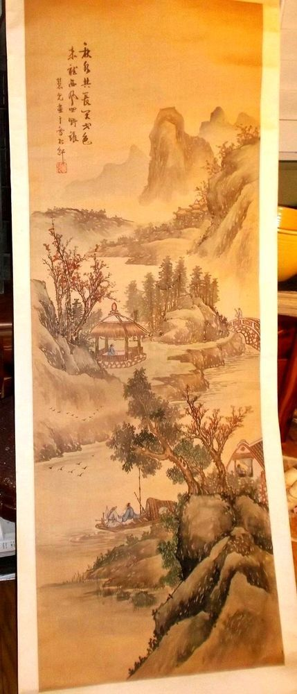 Antique Chinese Scroll Painting Beautiful Woman by