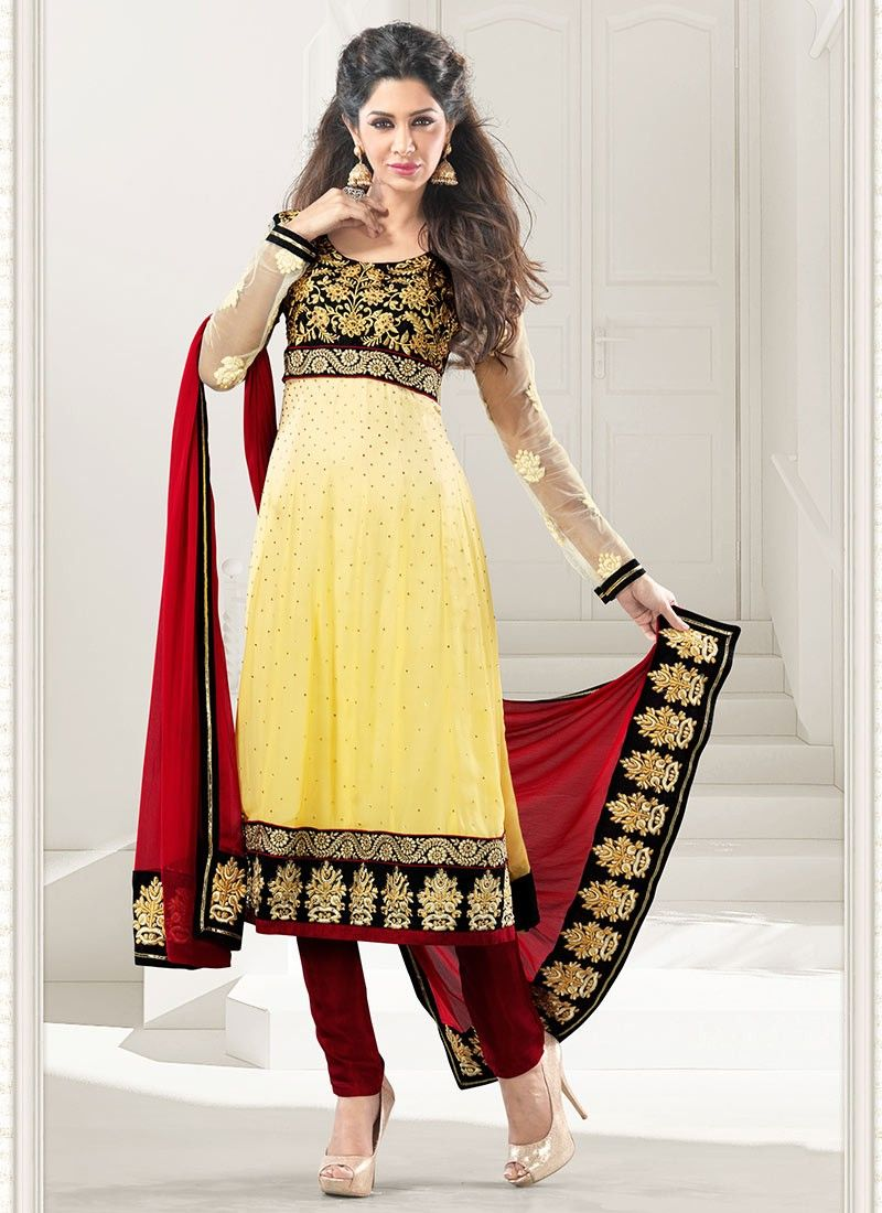 6ee867552a Lovely Yellow And Red Churidar Suit | beautiful dresses | Churidar ...