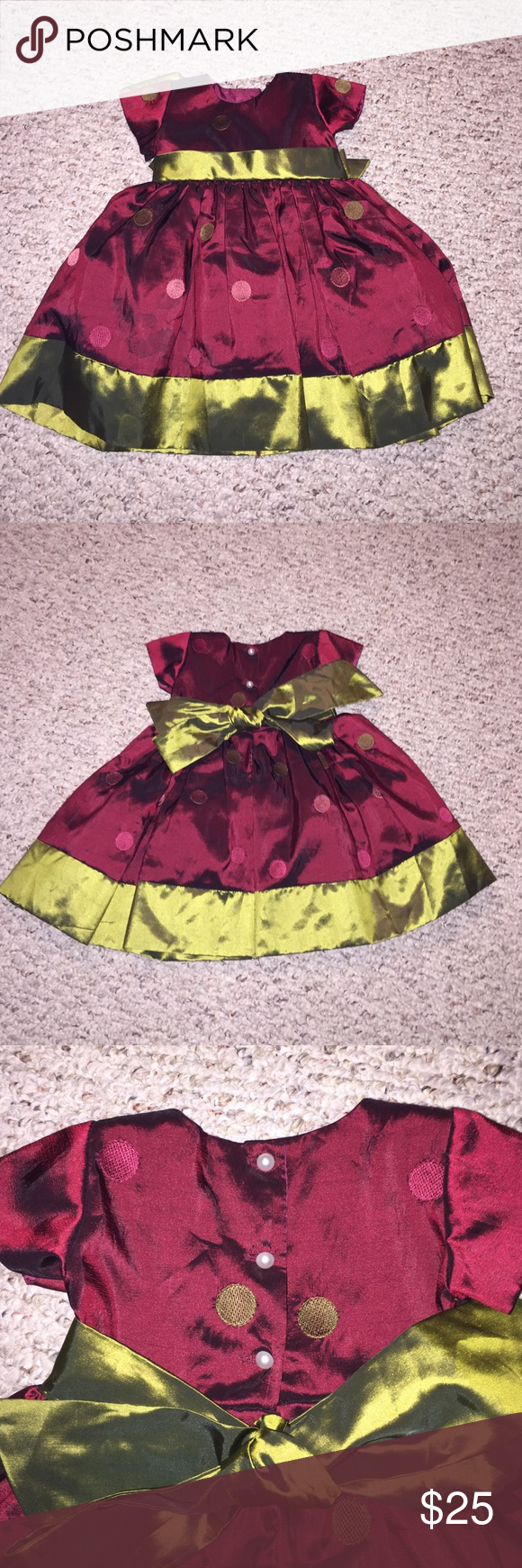 Swea Pea & Lilli Beautiful Baby Girl Dress Swea Pea & Lilli Beautiful Baby Girl Dress; deep burgundy and green with bow tie in back; pearl bottom closure on back; sz Med (my daughter was 6 months old when she wore it); only worn once; in excellent condition Swea Pea & Lilli Dresses Formal