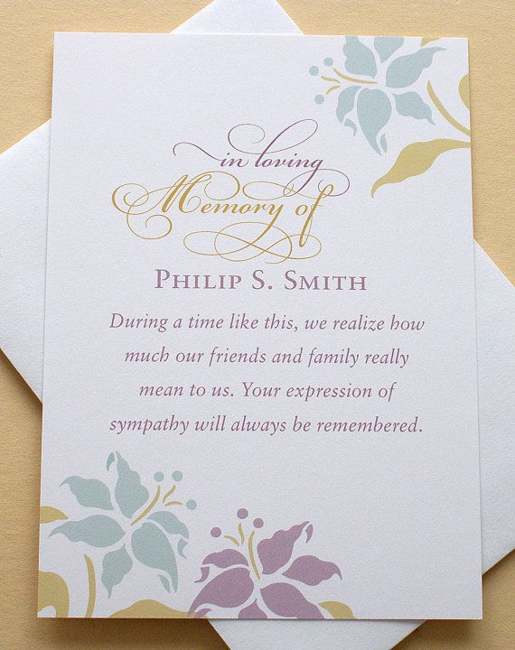 Thank You Sympathy Cards With Lovely Flowers Custom Flat Cards