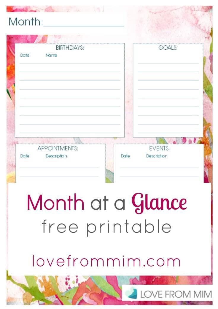 Month At A Glance Planner Free Printable Planner Printables