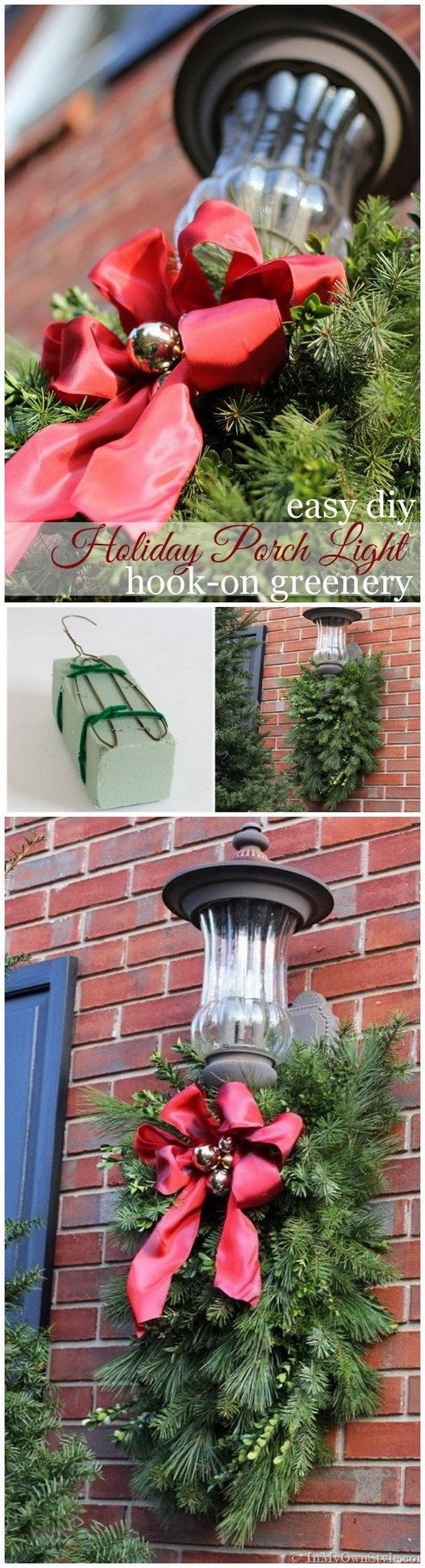 Diy outdoor christmas decorations  Made greenery sprays with Christmas tree cuttings to hang it under