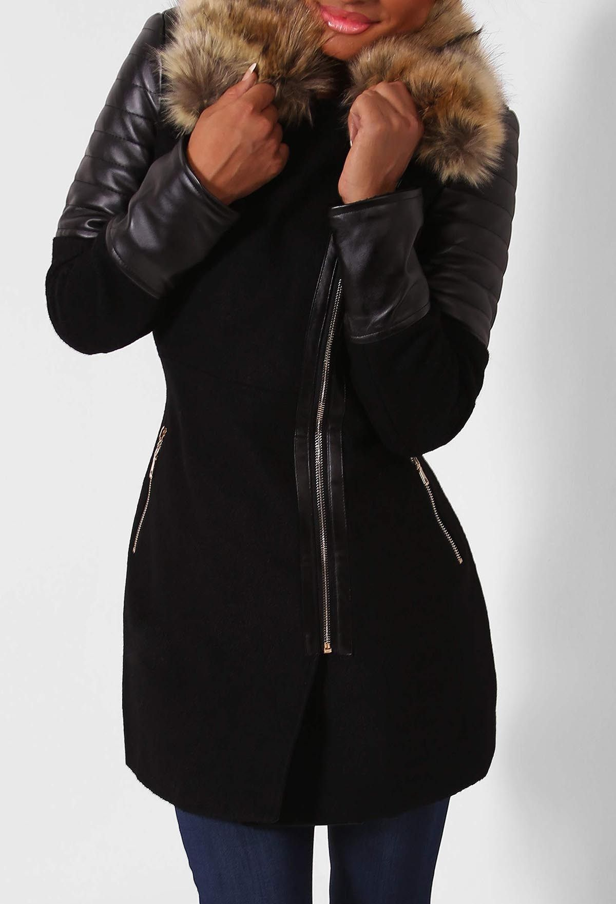 High Society Black Leatherette Sleeved Faux Fur Trim Coat ...