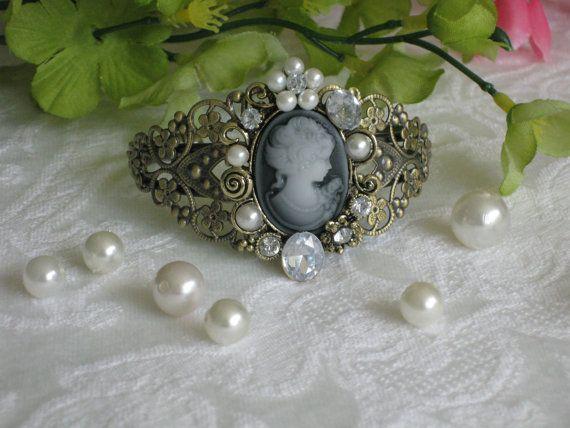 Lady Cameo Pearl Beaded Bracelet Cuff Bracelet by RalstonOriginals, $16.00