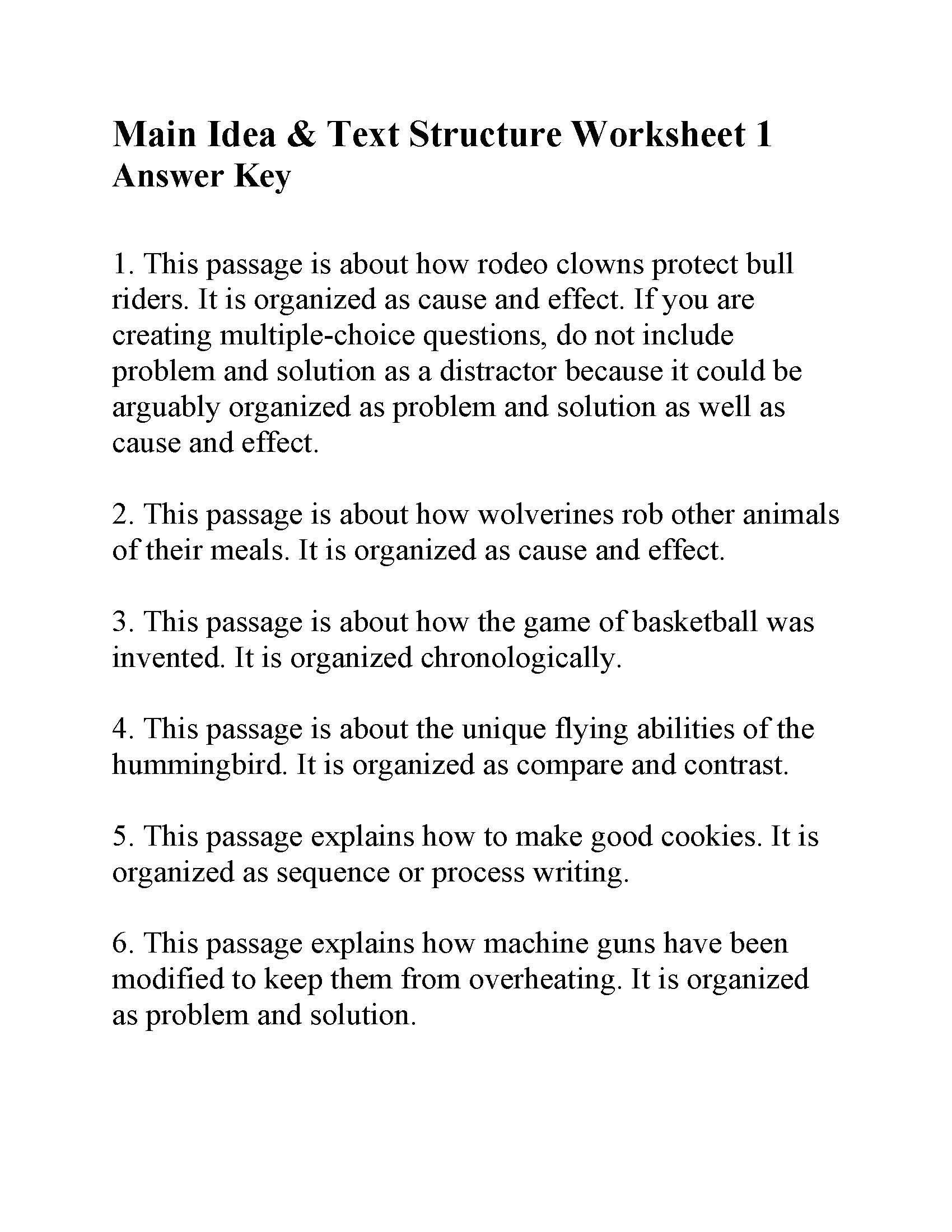 Text Structure 4th Grade Worksheets This Is The Answer Key