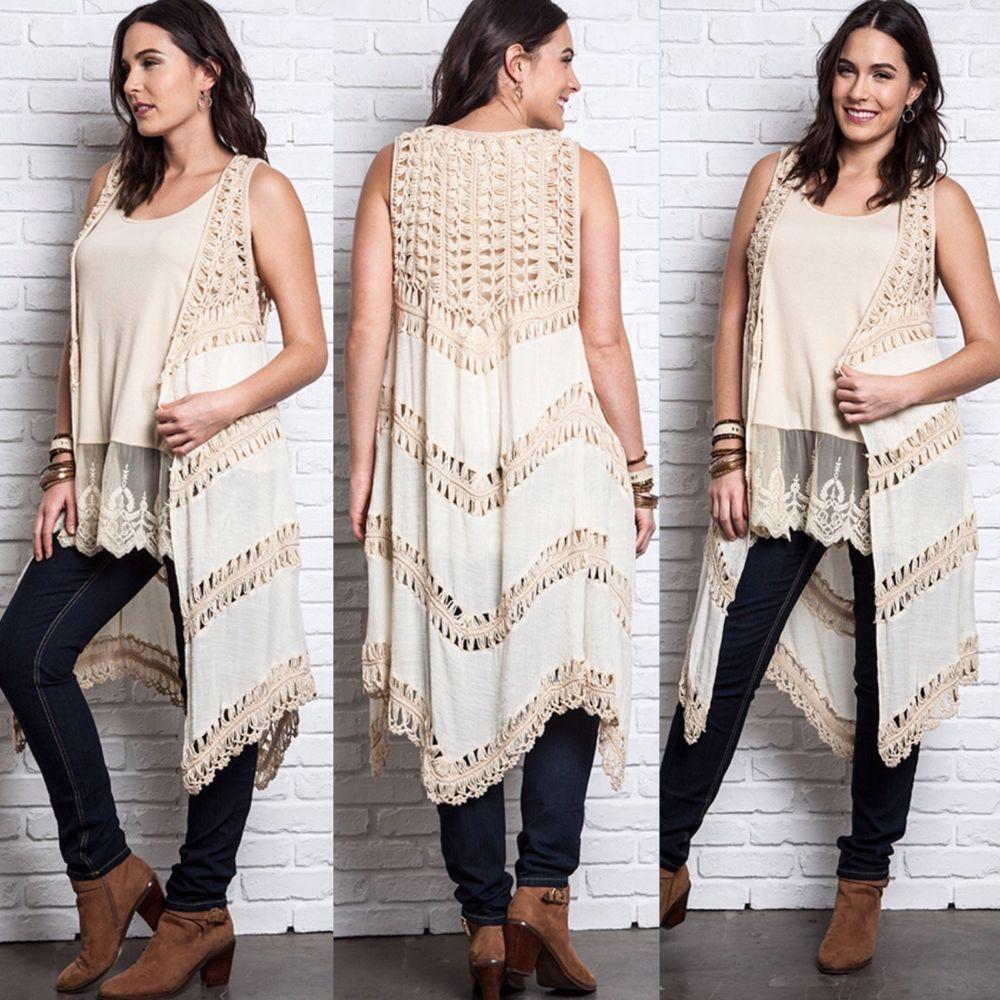 bcc1a48d311 New UMGEE Long Drape Open Crochet Knit Sleeveless Sweater Vest Top Plus Size   Umgee  PlusSize  Southern  Long  Boho  Hippie  Vest  Fringe  SweaterKnit   Open ...